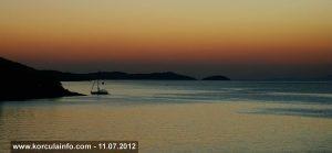 Sailing boat in Sunset, Korcula