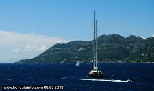 Sailing boats in Korcula channel