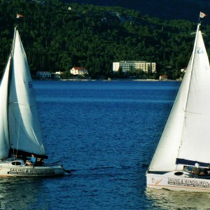 Sailing boats by sailing school in Korcula