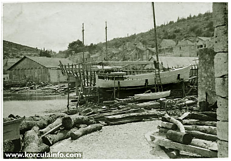 Shipyard in Borak, Korcula in 1930s
