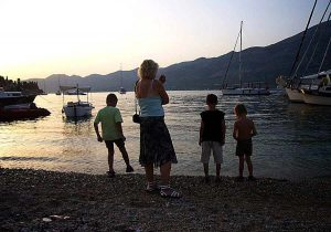 Watching sunset at Spomenik Beach, Korcula