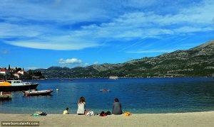 Spomenik Beach on calm sunny day