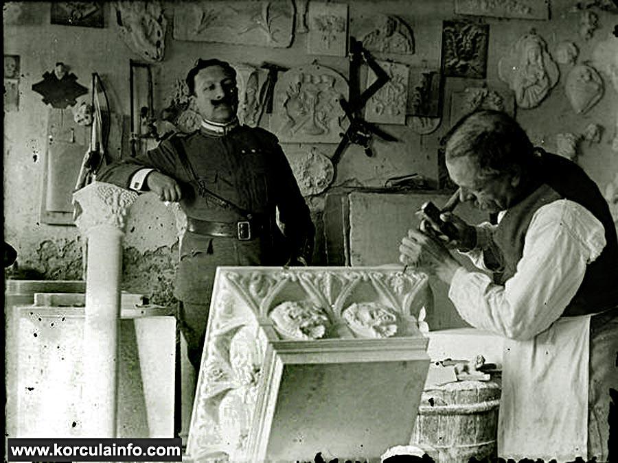 Stonemason & stones in Korcula in 1900s