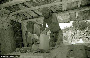 Stonemason at work in Zrnovo, Korcula Island in 1960s