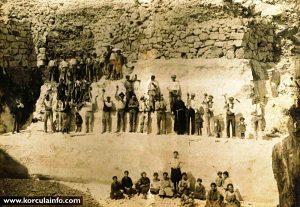 Group of stonemason in their stone quarry @ Vrnik
