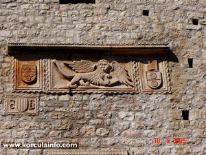 Winged Lion of Venice (Lion of Saint Mark) at tower's facade