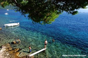 Colours of the water at Zakerjan Beach, Korcula