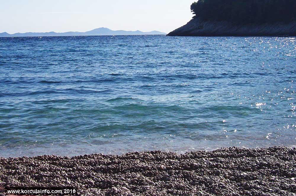 Views from the Bačva beach towards lastovo Island