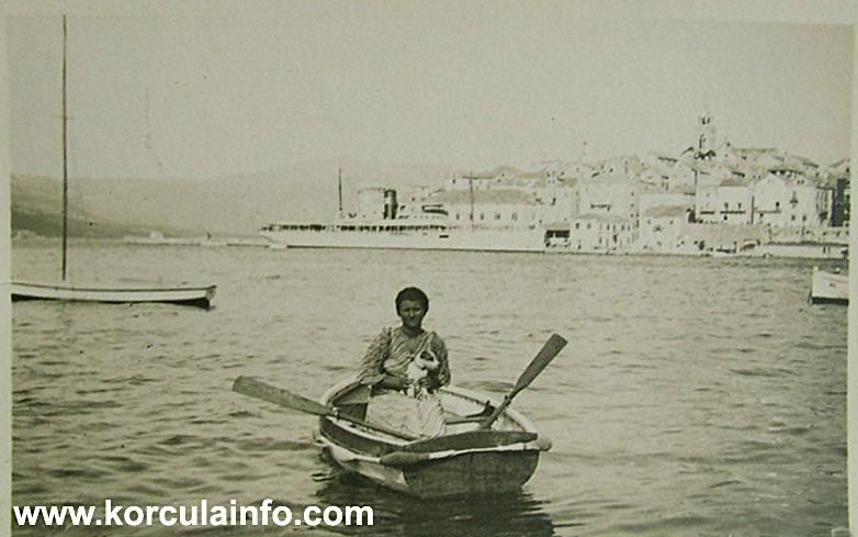 Woman, boat and dog, Korcula 1930s