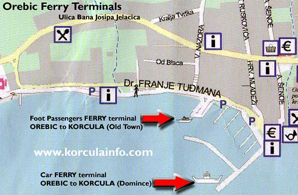 Location map of a ferry terminal in Orebic