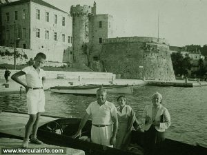 Local family at Speedboat - Riva Korcula in 1930s