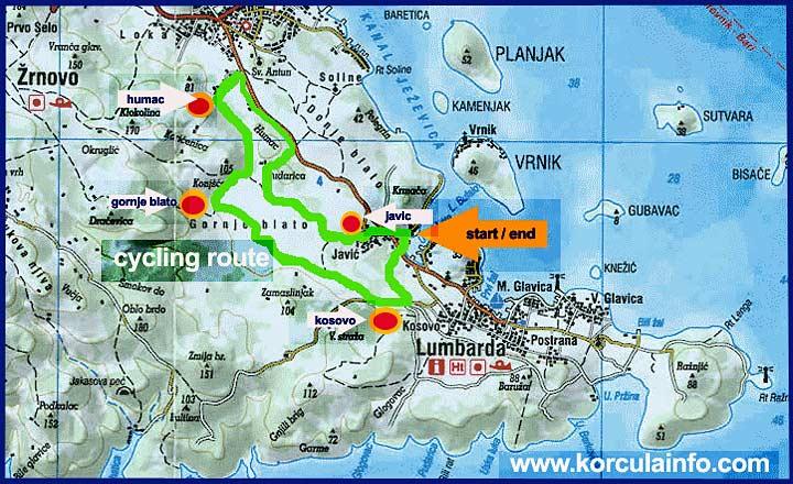 Map - Cycling Route: Lumbarda - Kosovo - Gornje Blato- Humac- Javic - Lumbarda