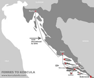 Map of ferries to Korcula