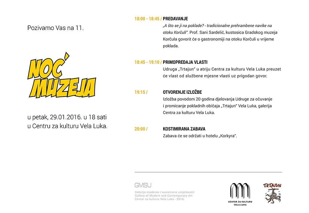 Centar za Kulturu Vela Luka Noć muzeja 2016 - program