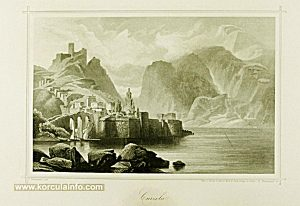 Korcula in 1855 - engraving by E. Obermeyer