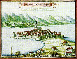 This is Giorgio Juster's drawing of Korcula from 1708. Giorgio Juster was Venetian military ingeneer. This drawing can be seen at Museo Correr in Venice, Italy.