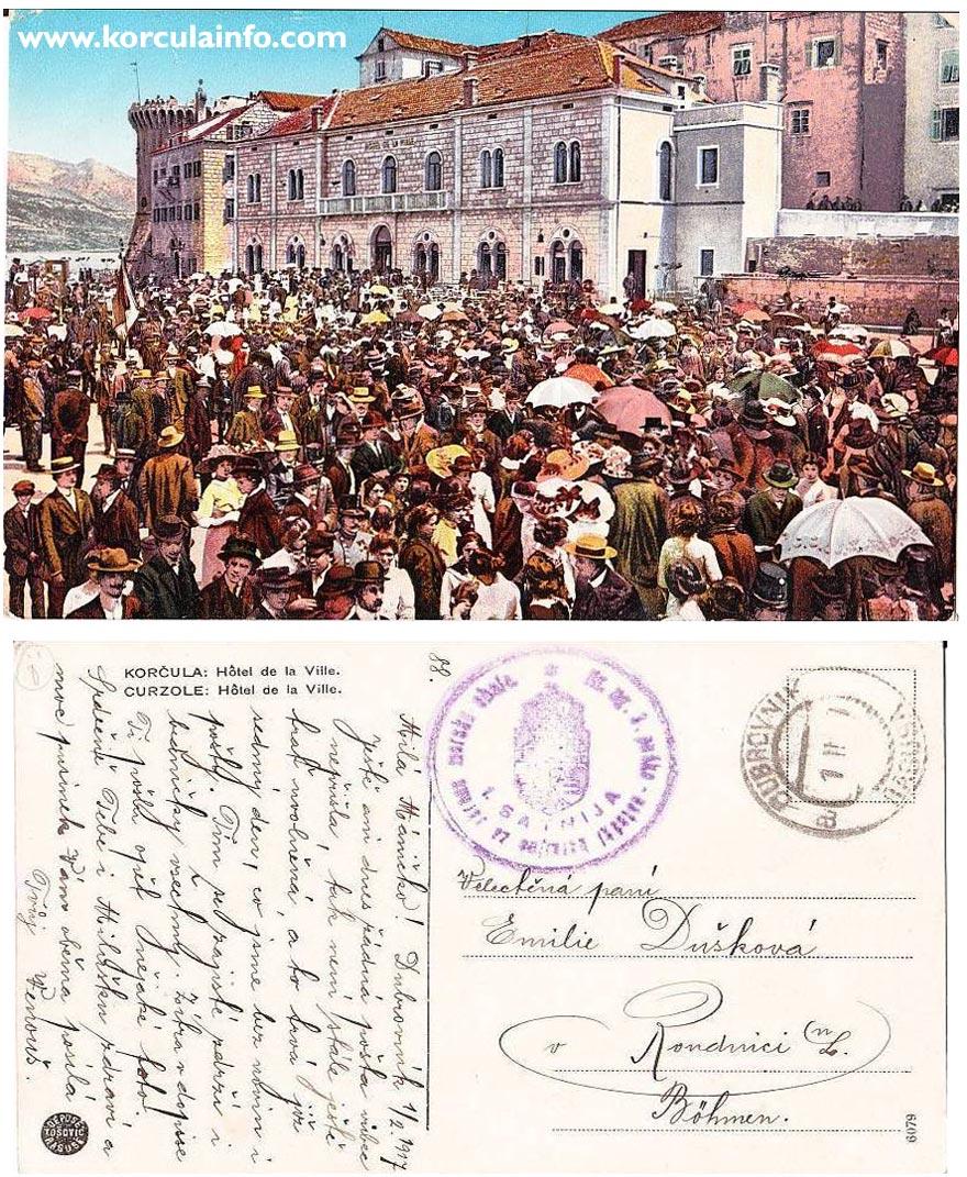 Postcard from Hotel Da La Ville sent in 1917
