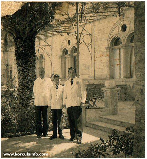 Waiters of Hotel Korcula - in 1960s