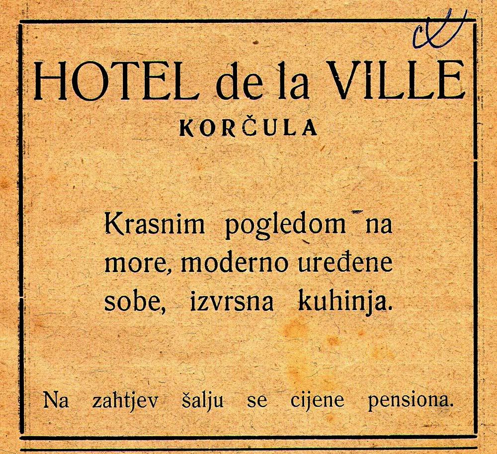 Hotel Korcula de la ville - Advert from 1928