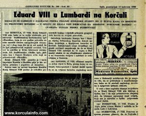 Edward VIII, King of the United Kingdom visited Lumbarda in 1936