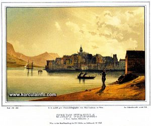 Lithography of Korcula Old Town (published in 1843)