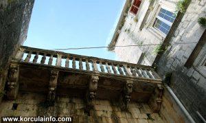 Balcony in Courtyard of Španić Palace (palača Španić) in Korcula