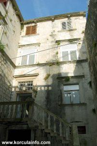Facade with staircase of Španić Palace (palača Španić) in Korcula