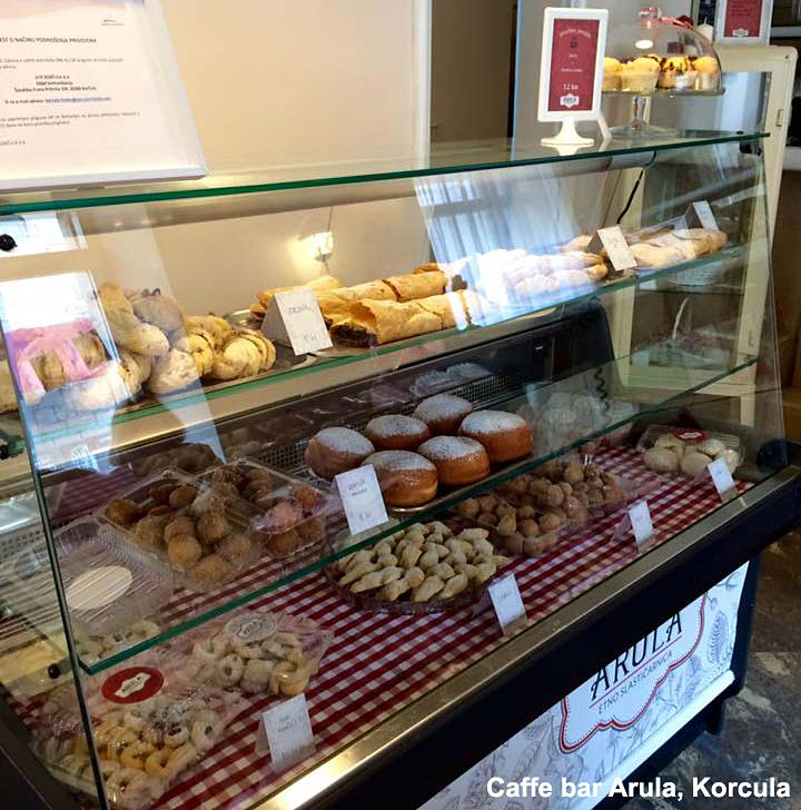 Selection of pastries and cakes in Arula cafe