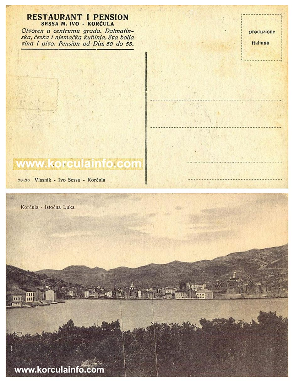 Restaurant and Pension Ivo Sessa, Korcula ( 1930s)