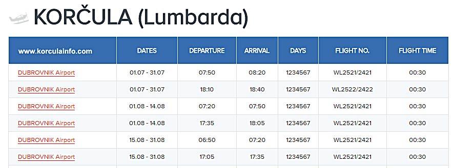 flights-dubrovnik-korcula-timetable