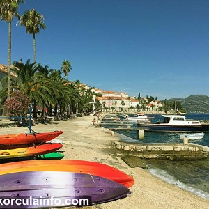 Kayaks in Korcula - ready for kayak daytrip