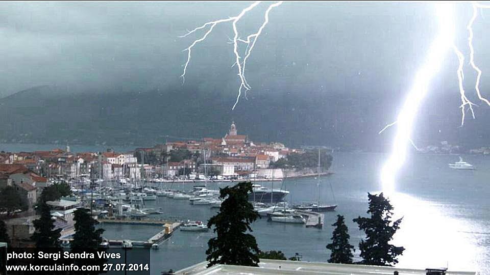 Lightning over Korcula Old town (2014)