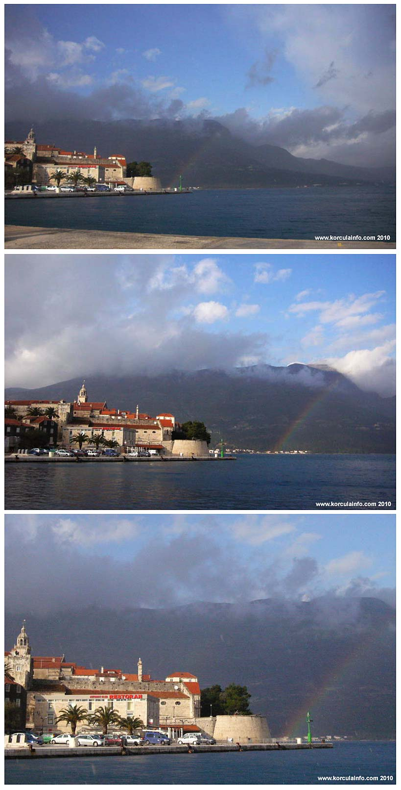Rainbow in front of Korcula Town (2010)