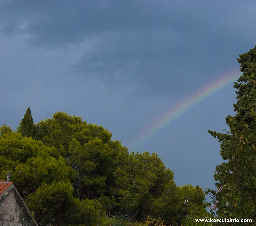 Rainbow over pine trees in Korcula (2010)