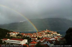 Rainbow over Korcula Old Town (Jan 2014)