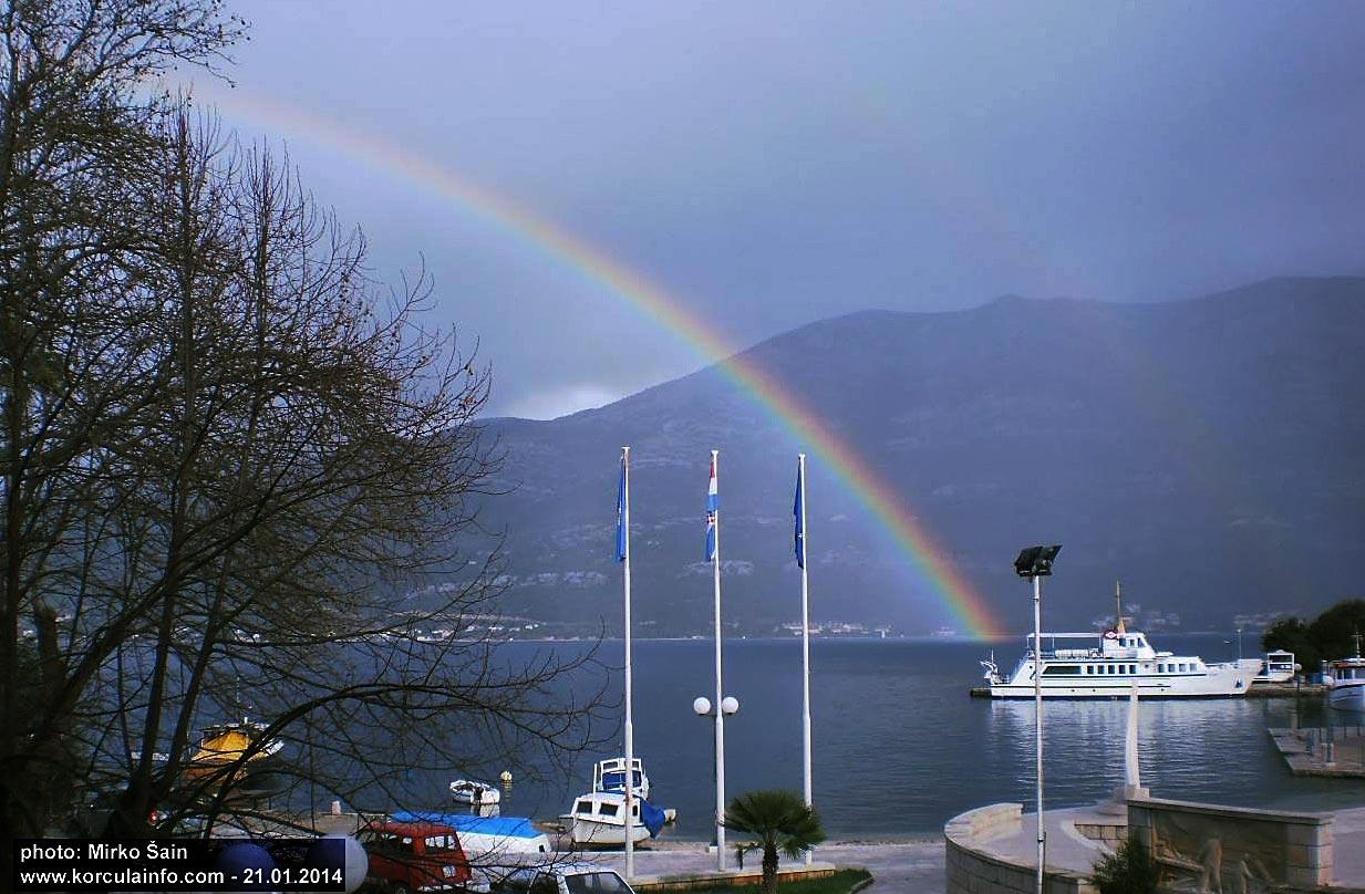 Rainbow in Korcula Port (Jan 2014)