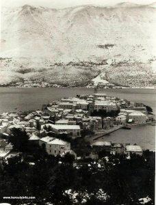 Snow in Korcula in April 1962