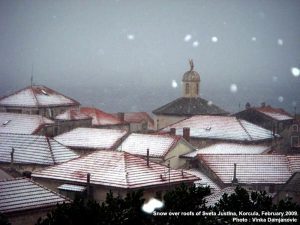 Snowfall over Korcula with Church of Sveta Justina (2009)