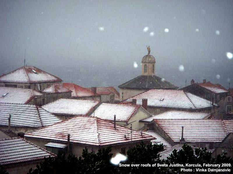 Snowfall over Korcula with Church of Sveta Justina (2009)