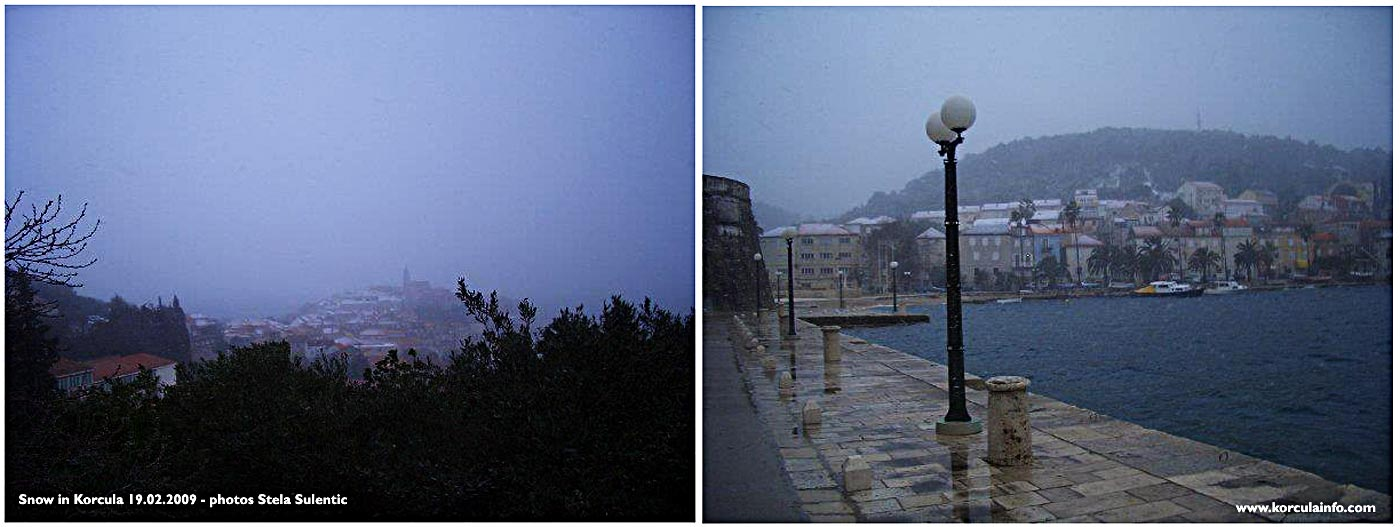 Snow in Korcula Port and Old Town (2009)