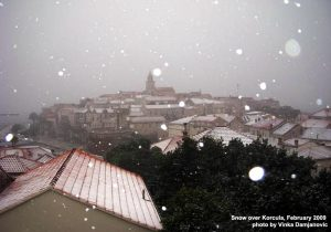 Snowfall over Korcula Old Town (2009)