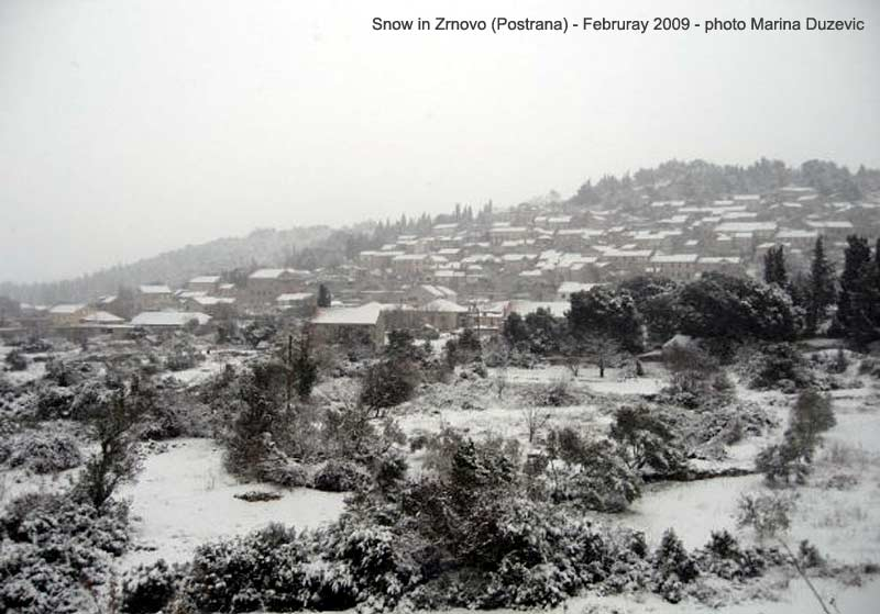 Snow in Postrana - Zrnovo, Korcula (2009)