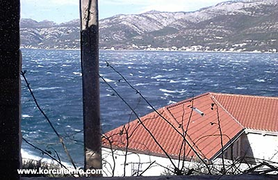 Bura wind of gale force in Korcula today