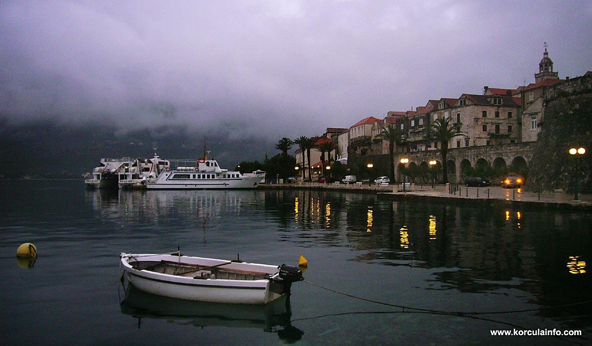 Boats at dusk at Riva, Korcula