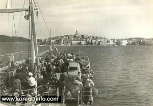 Approaching Korcula port in 1950s