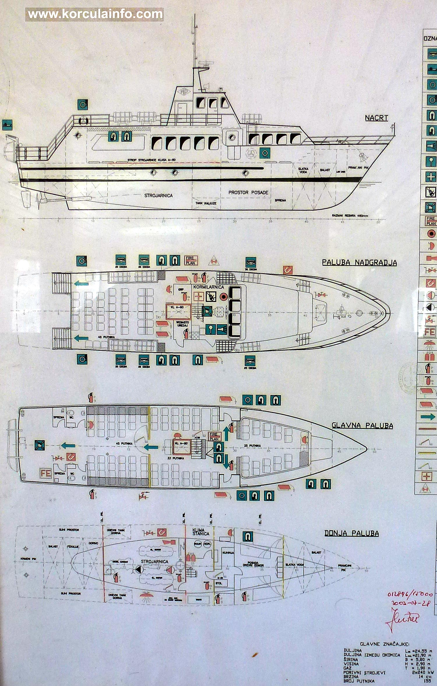 "Plan and elevations of Ferry ""Lovor"" - passenger ferry that sails between Korcula and Orebic."