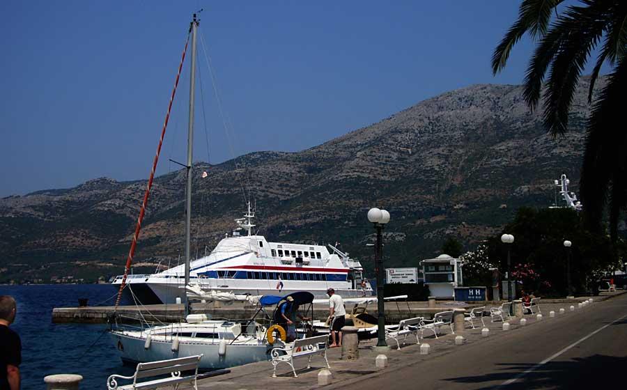 Catamaran Nona Ana in Korcula port