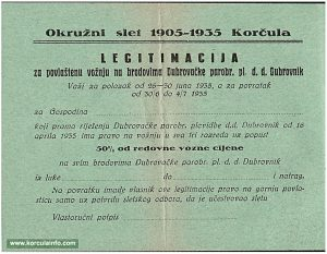 Free ferry ticket Dubrovnik to Korcula (1935)