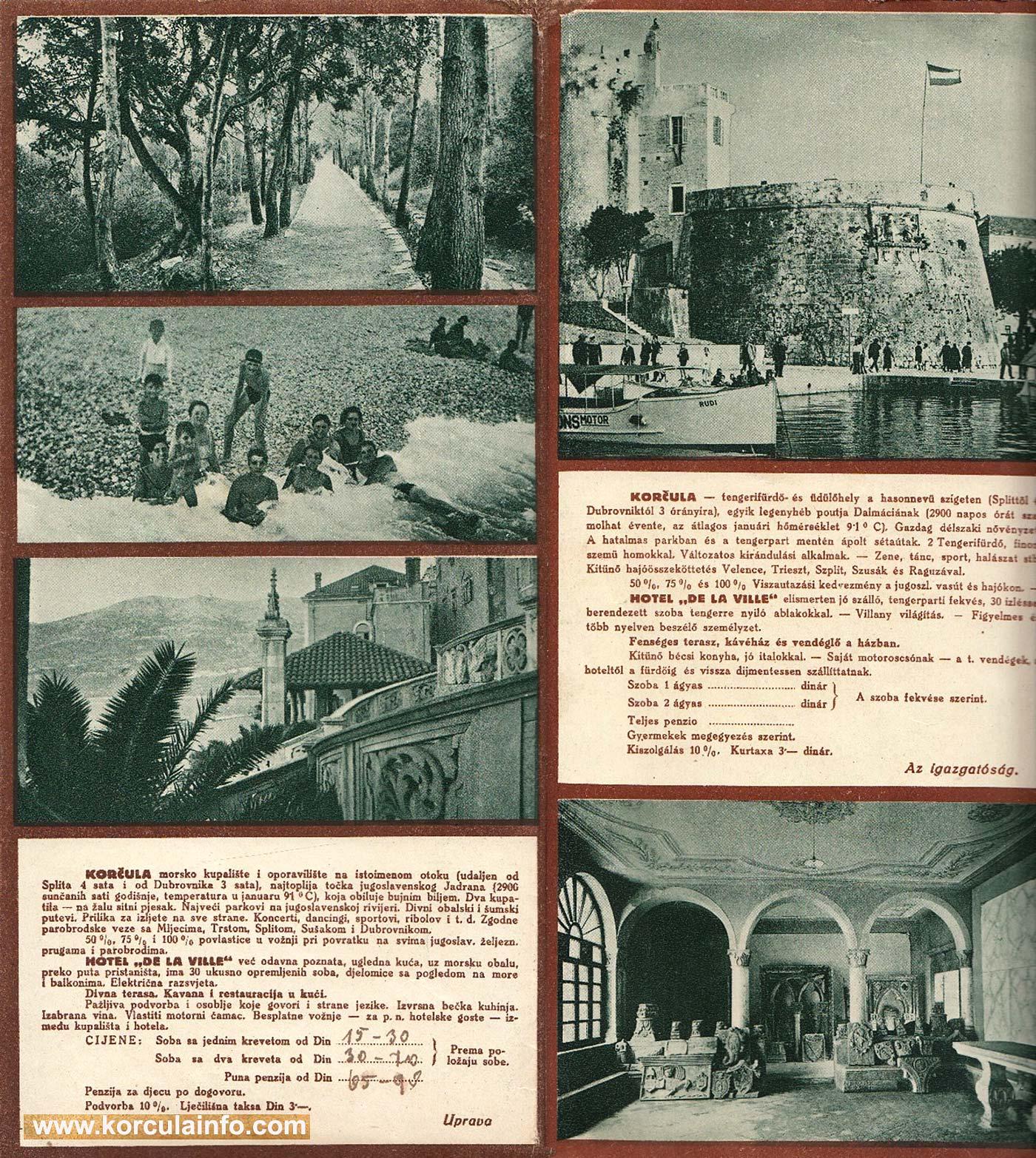 Hotel De La Ville - Brochure (1930s) - Inside panel