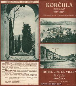 Hotel De La Ville Korcula - Brochure (1930s) - Front Cover